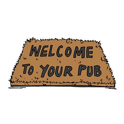 Pub Welcome Mat Illustration
